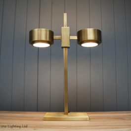 contempory lighting. \u20ac399.00; Keaton Light Antique Brass Twin Table Lamp Contempory Lighting E