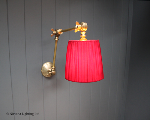 Poet Brass Articulated Wall Light C W Red Pleated Shade